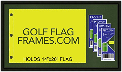 17x30 Black Golf Flag and Ticket Frame, Moulding blk-001, Reversible Green-Black Mat (Holds 14x20 US Open, PGA, Ryder Cup Souvenir Golf Flags; Flag-Tickets not incl)