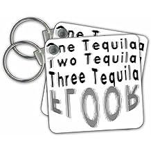 3dRose Taiche - Tee Shirt - Tequila - Blurred Vision One Tequila Two Tequila Three Tequila FLOOR White - Key Chains