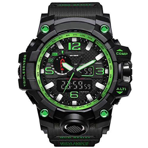 Bounabay Men's Military Digital Sport Watch Water Resistant Outdoor LED Back Light Display,Green