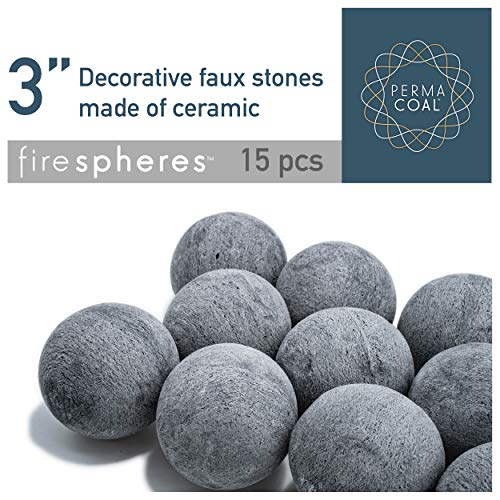 Bond Manufacturing Ceramic Fire Balls | Set of 15 | Fire Pit / Fire Table Accessory for Indoor and Outdoor Fireplace (Washed Stone Fireplace)