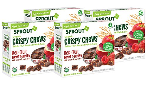 Sprout Organic Baby Food, Sprout Crispy Chews Organic Toddler Snacks, Red Berry & Beet 4 pack case of 20 Crispy Chews (4 boxes, 5 packets per (Sprout Organic Toddler Meal)