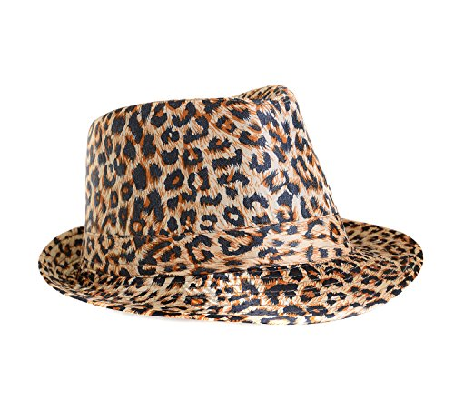[Classic Leopard Animal Print Fashion Unisex Fedora Hat] (Leopard Cowboy Hat)