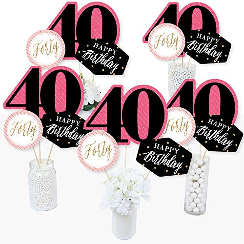 40th Birthday Centerpieces - Chic 40th Birthday - Pink, Black and Gold - Birthday Party Centerpiece Sticks - Table Toppers - Set of 15