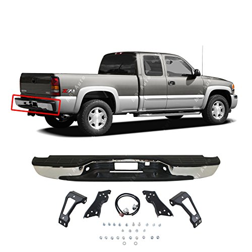 Painted Tailgates MBI AUTO - New Complete Chrome Rear Step Bumper Assembly for 1999-2006 Chevy Silverado GMC Sierra 1500 Truck -
