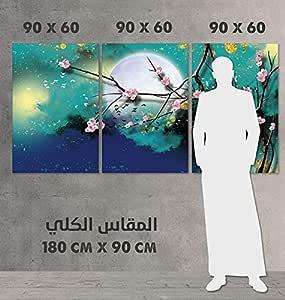 لوحة جدارية مقسمة الى 3 قطع ، مقاس 60x90