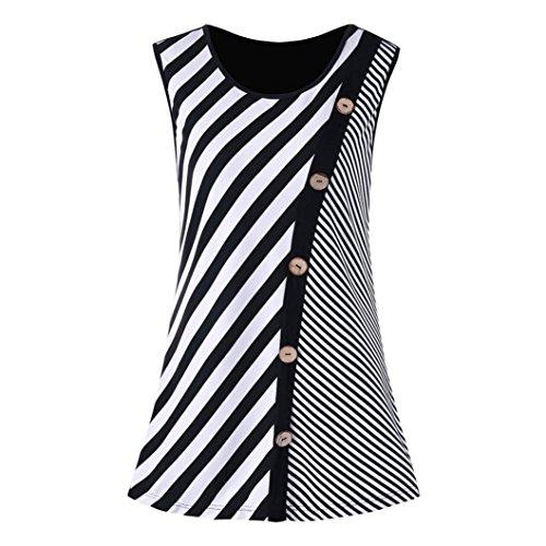 Satin Striped Button - HODOD Women Casual Striped Block Patchwork Button Tank Camis Vest Top Blouse