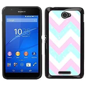 [Neutron-Star] Snap-on Series Teléfono Carcasa Funda Case Caso para Sony Xperia E4 [Chevron Teal Pink White Blue Pattern]