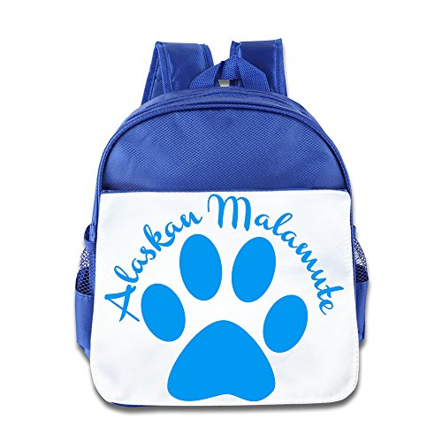 XJBD Custom Personalized Alaskan Malamute Footprints Kids Children School Bagpack Bag For 1-6 Years Old RoyalBlue