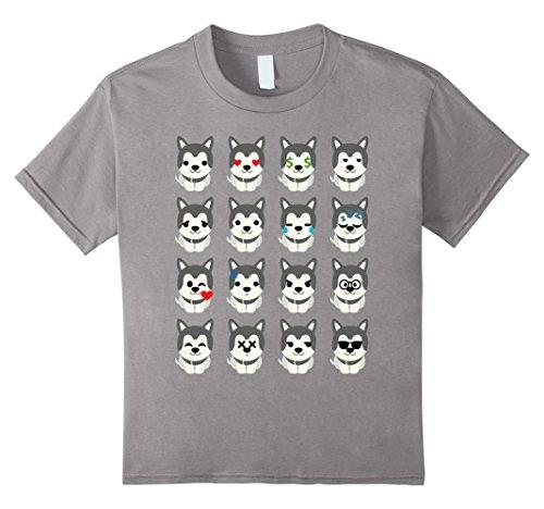 [Kids Siberian Husky Dog Emoji Face Expression Shirt T-Shirt Tee 8 Slate] (Girls Festive Witch Costumes)