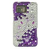 PURPLE & SILVER Hard Plastic Bling Rhinestone Case for Motorola Droid Bionic / Targa + Car Charger [In Twisted Tech Retail Packaging]