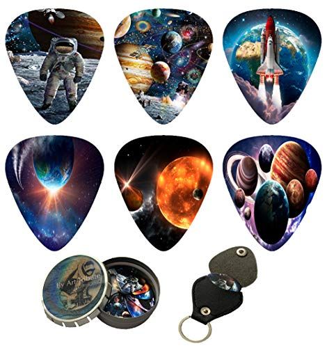 Space Guitar Picks 12 Pack W/Tin Box & Picks Holder. Celluloid Medium Cool Picks Perfect Gift For Guitar & Lover. For Acoustic Electric and Base Guitars feels like float in zero gravity while playing