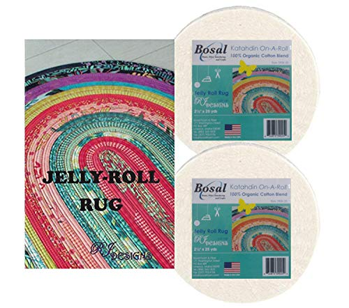 (Jelly Roll Rug Kit Bundle, Including Pattern and Two (2) Rolls of Bosal Katahdin Batting)