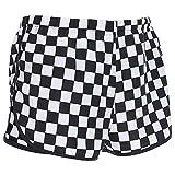 Women White and Black Plaid Mid-Waist Streetwear Checkboard Side Split Shorts (S)