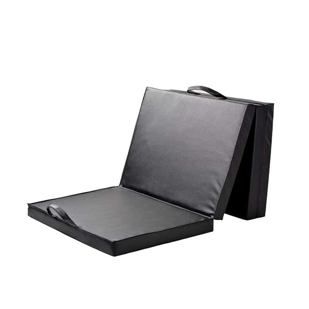 折りたたみ三つ折り体操ジムエクササイズエアロビクスマットタンブリングマットストレッチ用ヨガチアリーディング総合格闘技 (色 : ブラック, サイズ : 180*60*5CM) ブラック 180*60*5CM
