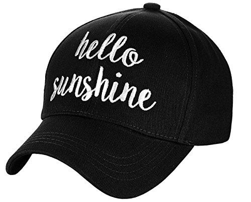 C.C Women's Embroidered Quote Adjustable Cotton Baseball Cap, Hello Sunshine, Black