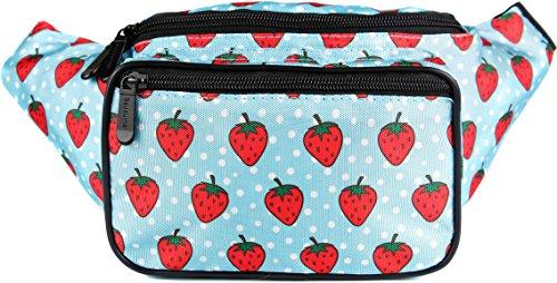 15 Bottle Strawberry - SoJourner Strawberry Fanny Pack - Cute Packs for men, women festivals raves | Waist Bag Fashion Belt Bags