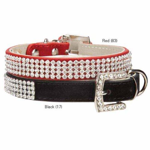 East Side Collection Velvet Rhinestone Dog Collar, 6 to 8-Inch, Black (East Side Collection Rhinestone)