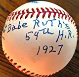 Paul Hopkins (D.) Uniquely Signed & Inscribed Baseball - Gave-up Babe Ruth's Record-Tying 59th Homer in 1927 - Inscribed & Limited 10/59 -includes SIGNED COA by Hopkins