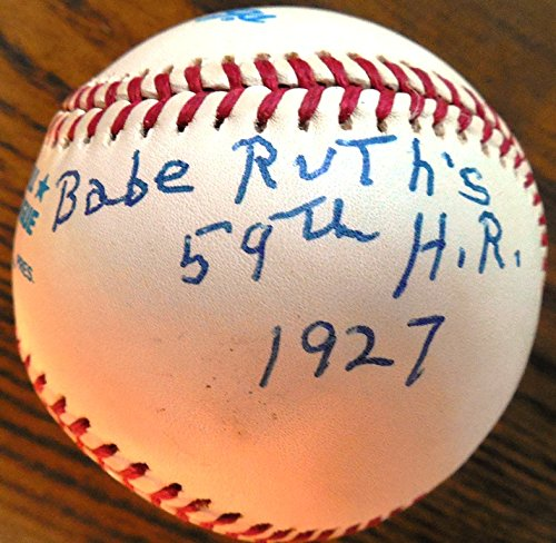 Paul Hopkins (D.) Uniquely Signed & Inscribed Baseball - Gave-up Babe Ruth's Record-Tying 59th Homer in 1927 - Inscribed & Limited 10/59 -includes SIGNED COA by Hopkins Babe Ruth Autographs