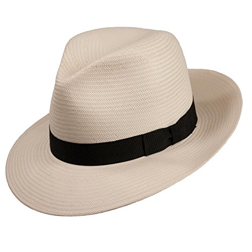 Millennium Panama Straw Fedora (XXLarge (fits 7 3/4 to 7 7/8), Natural) ()