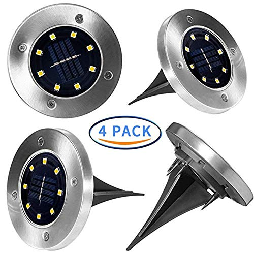 Solar Ground Lights,4 Pack Waterproof Outdoor Ground Light Stainless Steel with 8 LED for Garden Pathway Walkway Yard (Warm Color)