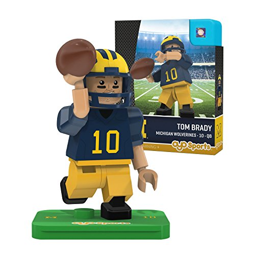 OYO NCAA Michigan Wolverines Tom Brady Gen 2 Player Mini Figure, Small, Black (Tom Brady Mini Helmet)