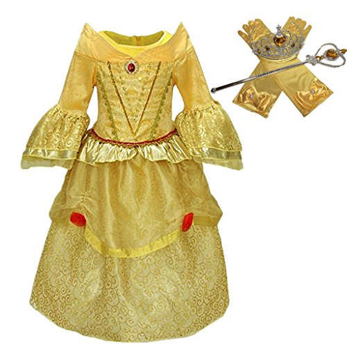 DreamHigh Princess Belle Yellow Deluxe Girls Costume Dress with Cosplay Accessorries Size 4-5 Years (Child Belle Costume Classic)
