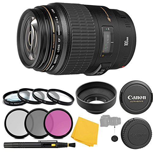 Canon EF 100mm f/2.8 Macro USM Fixed Lens + 3 Piece Filter Set + 4 Piece Close Up Macro Filters + Lens Cleaning Pen + Pro Accessory Bundle - 100mm Macro Ultrasonic Motor Lens - International Version