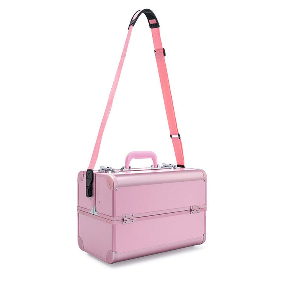 Sdcvopl Portable Travel One-Shoulder Portable Professional Cosmetic Case Upgraded Aluminum Frame Korean Pink Storage Cosmetic Case Makeup Bag (Color : Pink)
