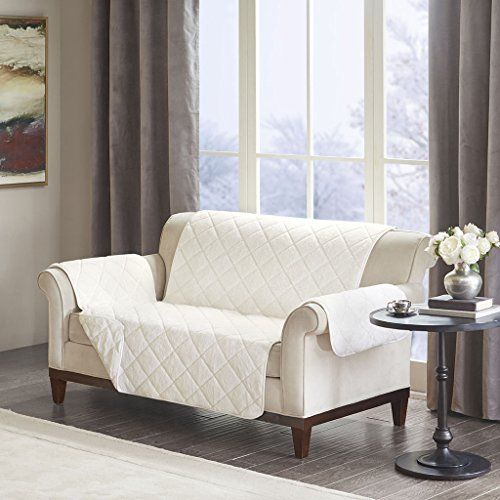 Madison Park Arctic Checkboard Long Faux Fur Ultra Soft Quilted Sofa Couch Cover Protector Chair Slipcover With Elastic Straps, Loveseat Size, Ivory ()