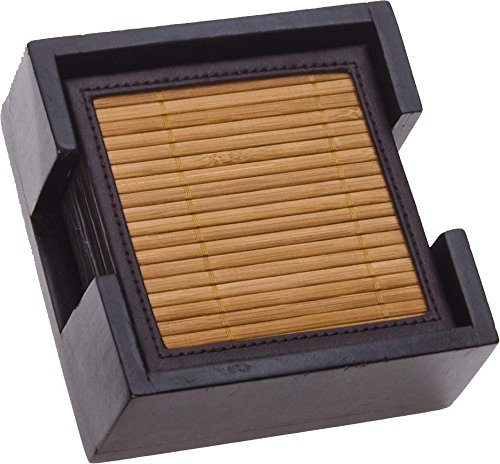 Thirstystone Bamboo and Faux Leather Ambiance Coasters, ()
