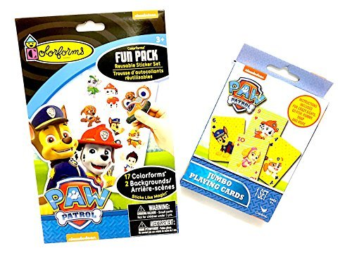 Paw Patrol Jumbo Playing Cards with instructions for Crazy Eights, Go Fish, Rummy, Snap & More Plus Colorforms Fun Pack Featuring Reusable Stickers