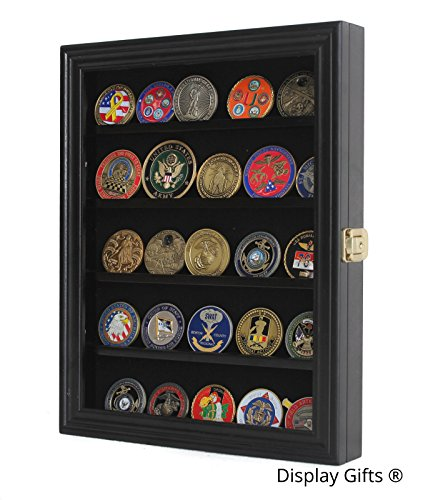 LOCKABLE-Military-Challenge-Coin-Poker-Chip-Display-Case-Cabinet-Rack-Shadow-Box-Wood-COIN30-BL