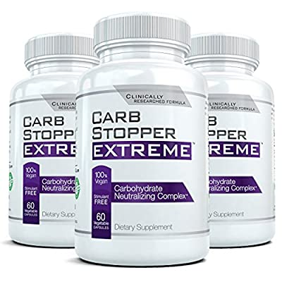 CARB STOPPER EXTREME (3 Bottles) - Maximum Strength Carbohydrate & Starch Blocker Weight Loss Supplement with White Kidney Bean Extract by Carb Stopper Extreme