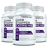 CARB STOPPER EXTREME (3 Bottles) - High Performance Carbohydrate & Starch Blocker Formula/Diet, Fat Loss, Slimming Supplement with White Kidney Bean Extract,60 count each
