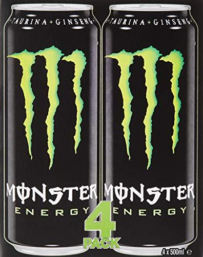 Monster – Green, Bebida energética, 500 ml (Pack de 4), Lata