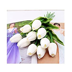 tutu.vivi Artificial Flowers Real Touch Tulips PU Tulips Flowers Arrangement Bouquet Wedding Bouquets Wedding Decor Hotel Party Event Christmas Decor set of 10 96