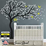 """Black Tree Wall Decal Sticker White Leaves Yellow Birds Peel and Stick Large and Simple Nursery Decor Home Improvement Tree Susie's Decal 81"""" x 84"""" (LxH) - DIY Easy to install and apply- Right Leaning"""