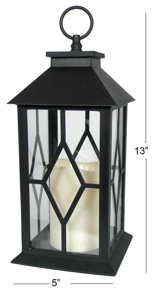 6-Decorative Lanterns Diamond Shape-Design with LED-Flameless Flickering-Candle