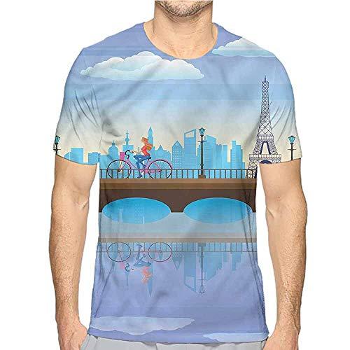 Comfort Colors t Shirt Landscape,Eiffel Tower Cartoon Art t Shirt XL