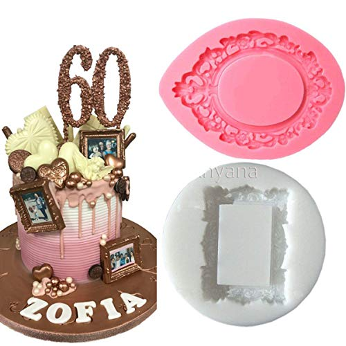Anyana mini victorian Picture rectangle oval royal Frame Photo mirror mould cake Fondant gum paste silicone mold for Sugar paste resin birthday cupcake decorating topper decoration sugarcraft set of 2 by Anyana