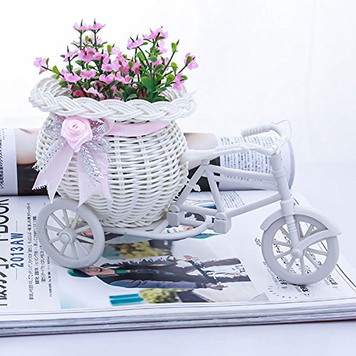 Gold Happy White Tricycle Bike Design Flower Basket Storage Container For Party Wedding Birthday Gifts