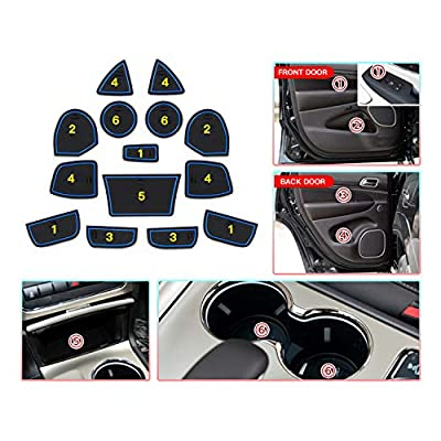 CDEFG Custom Fit Cup, Door and Center Console Liner Mats for 2016-2020 Grand Cherokee WK2, Car Slot Mat Cup Coaster Pad Anti Slip Cup Holder Inserts 14PC-Set (Blue Trim for 2016-2020 JGC): Automotive