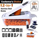 Vegetable Chopper Slicer Dicer Cutter Peeler Cheese Grater. 12-in-1 (22 Pieces). Best Manual Mandoline, Food Chopper, Lemon Squeezer, Egg White Separator, Egg Slicer. Free Cut-Resistant Gloves Brushes