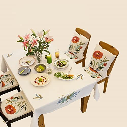 SFUDE Nature Style Handmade Embroidery Pattern Honeycomb Material Tablecloth Decorative Table Cloth (43 Inch x 43 Inch)