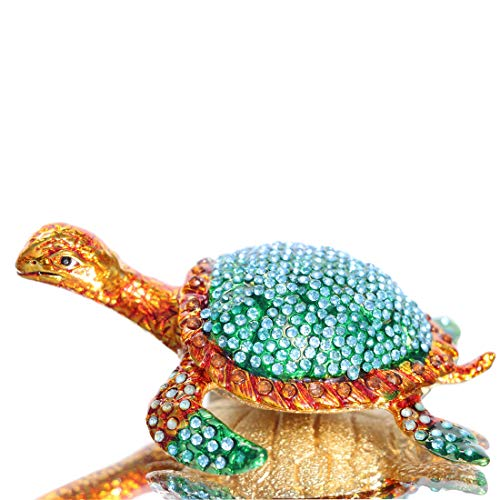 Enamel Turtle Ring - Waltz&F The sea Turtle Trinket Box Hinged Hand-Painted Animal Figurine Collectible Ring Holder