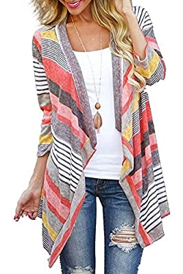 DEARCASE Women's 3/4 Sleeve Cardigans Striped Printed Open Front Draped Kimono Loose Cardigan