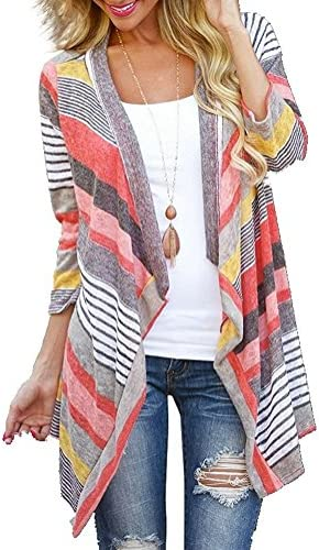 DEARCASE Cardigans Striped Printed Cardigan product image