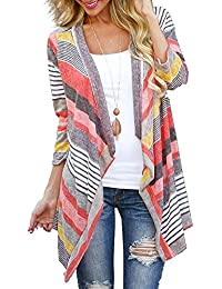 Women's 3/4 Sleeve Cardigans Striped Printed Open Front Draped Kimono Loose Cardigan