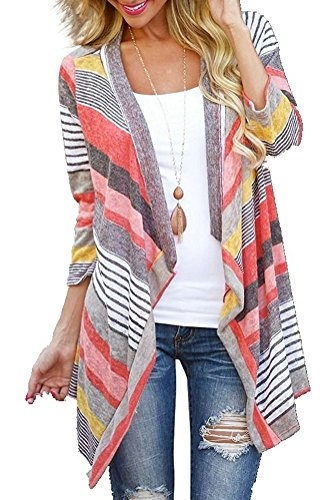 Women's 3/4 Sleeve Striped Printed Open Front Draped Kimono Loose Lightweight Cardigan Red Medium
